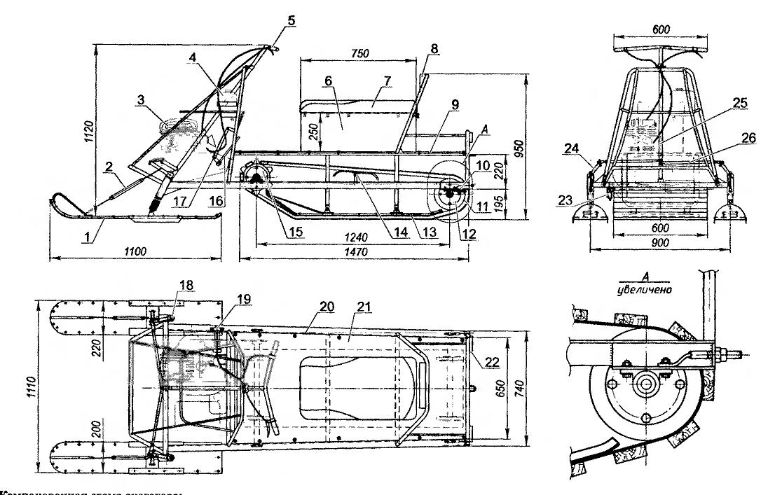 3—двигатель (от мотоцикла «